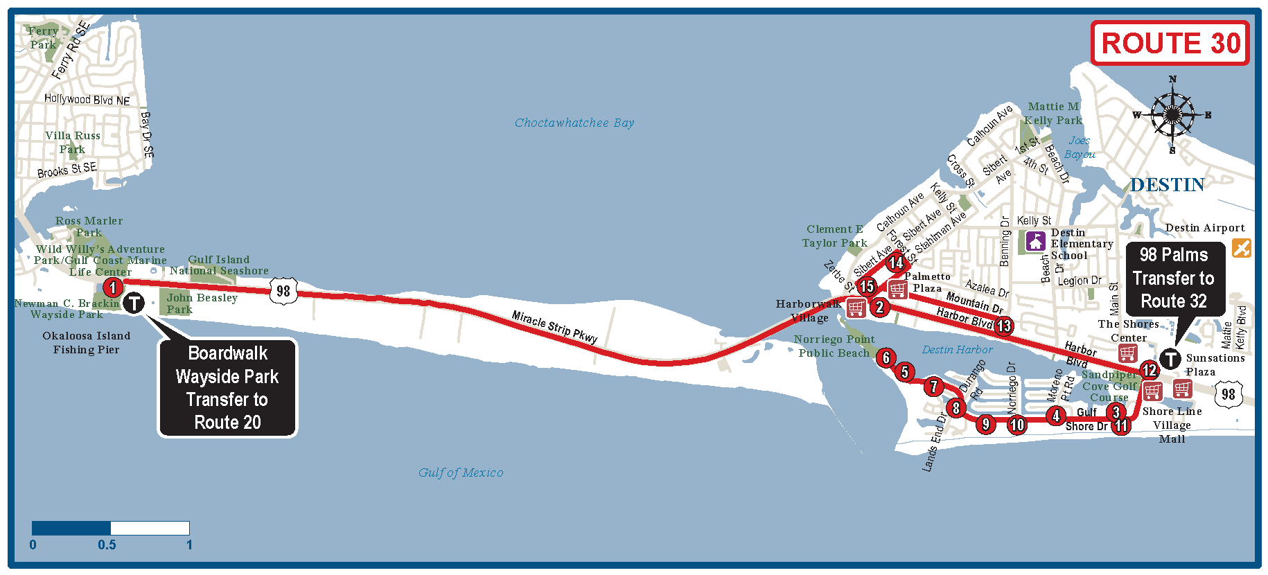Okaloosa Destin Bus Route Map