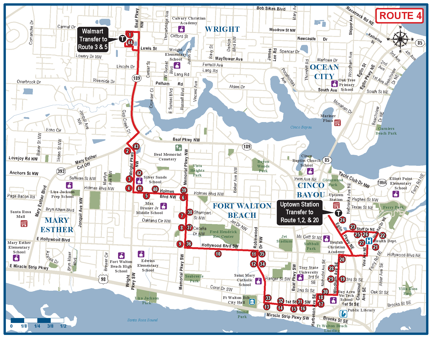 Map Of Fort Walton Beach Florida.Fort Walton Beach Route 4 Ec Rider